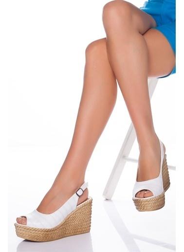 Derithy Lewıs Dolgu Topuklu Ayakkabı-Bej-Lzt0535 Beyaz